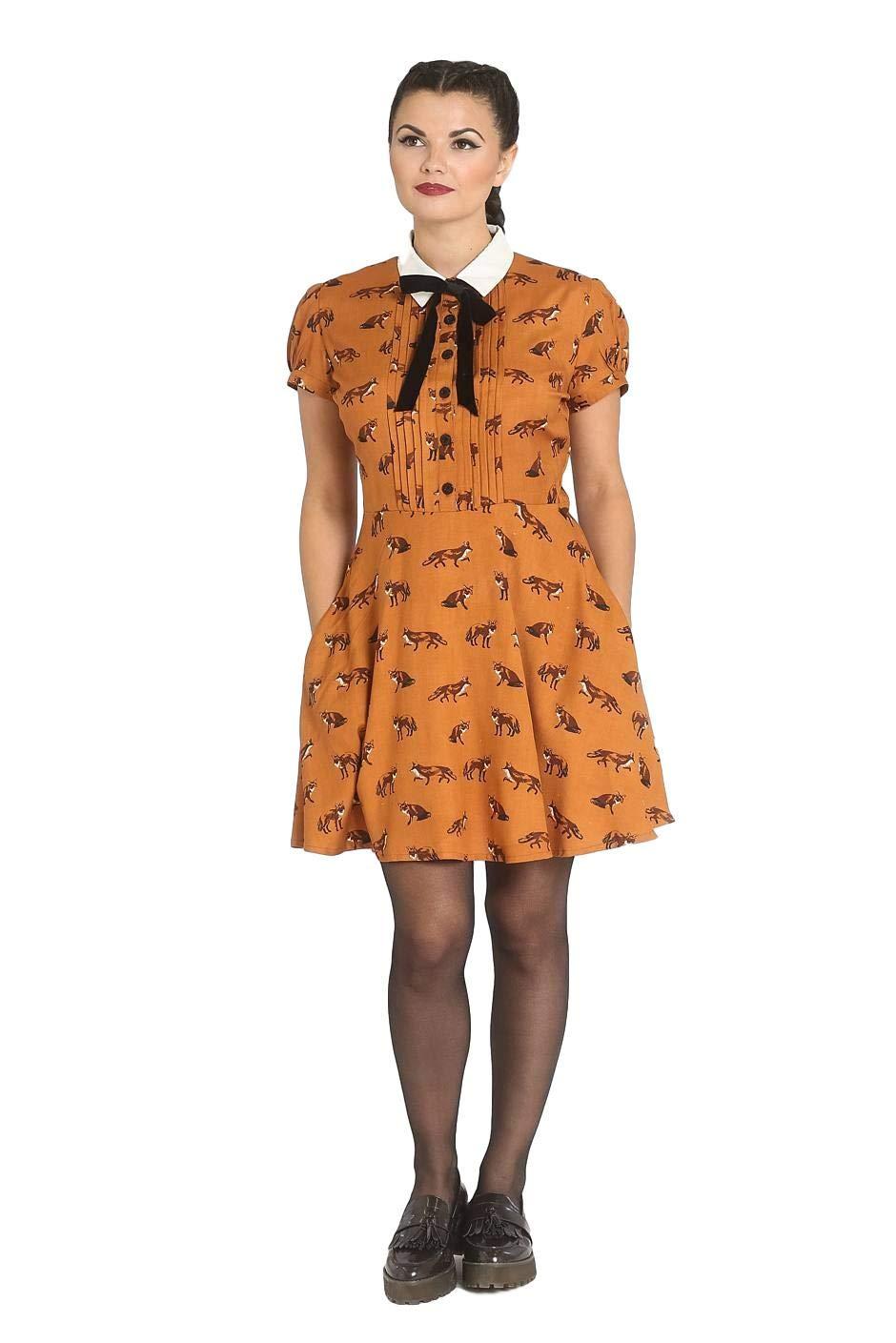 Available at Amazon: Hell-Bunny Vixey 1960s Fox Print Vintage Retro Style Short Dress XS-4XL