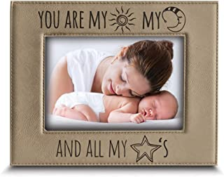 BELLA BUSTA- You are My Sun, My Moon and All My Stars- Baby, Couple, Wedding, Mon, Dad, Grandparents, Boyfriend Gift-Engraved Leather Picture Frame (4