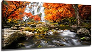 Ardemy Canvas Wall Art Prints Landscape Waterfall Nature Scenery Painting Modern Artwork Large Size Mountain Picture Framed Ready to Hang for Living Room Bedroom Home Office Decor 48