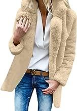 Creazrise Winter Faux Fur Coat for Women Long Sleeve Lapel Warm Outwear Cardigan Overcoat Jacket Outfit (Gray,XXXL)