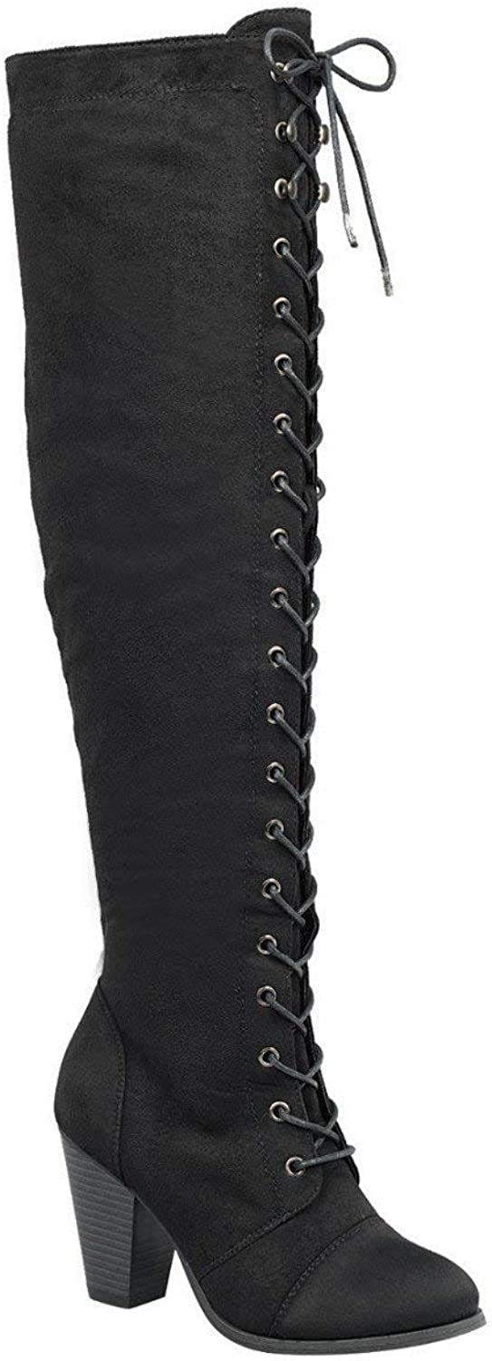 Forever Camila-48 Womens Chunky Heel Lace up Over The Knee High Riding Boots