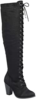 Forever Women's Chunky Heel Lace up Over-The-Knee High Riding Boots