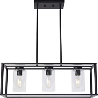 VINLUZ Contemporary Chandeliers Black 3 Light Modern Dining Room Lighting Fixtures Hanging, Kitchen Island Cage Linear Pendant Lights Farmhouse Flush Mount Ceiling Light with Glass Shade