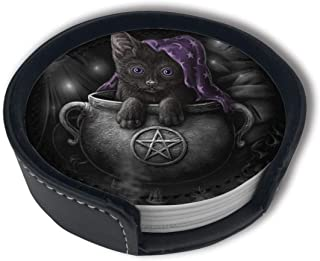Cup Play Flove Wicca Black Pet Cat Wiccan Pagan Cutemug Coasters Home Set of 6 Pu Leather Decorations Round Holder Beer Pack Car Coasters Mats Placemats Gift Ornament