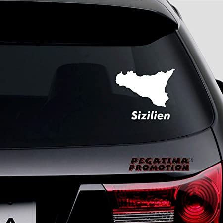 Pegatina Promotion Insel Sizilien Mit Schriftzug Ca 15cm Aufkleber Freigestellt Ohne Hintergrund Aus Hochleistungsfolie Für Lack Und Scheibe Autoaufkleber Sticker Auto