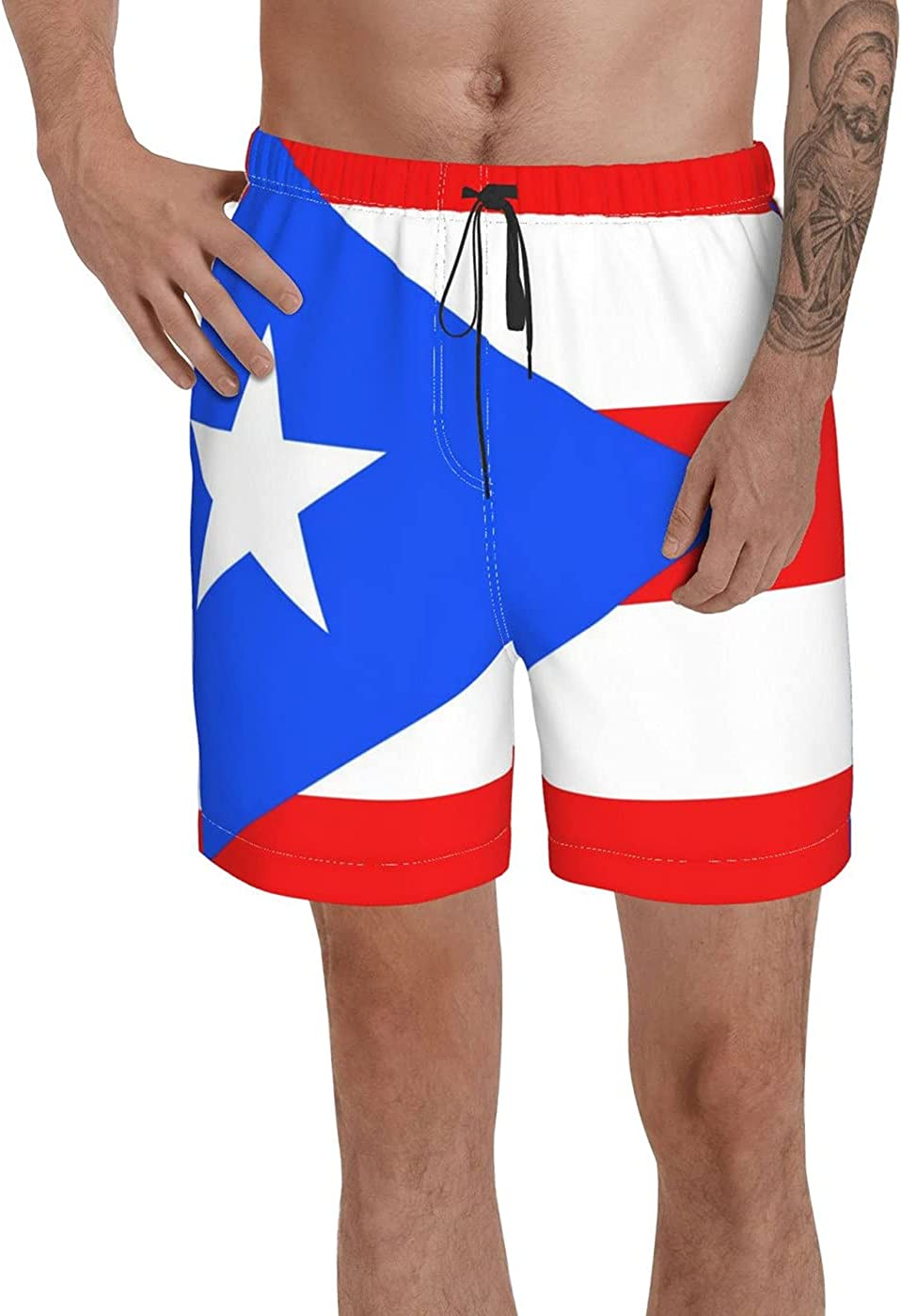 Puerto Rico Flag Men's 3D Printed Funny Summer Quick Dry Swim Short Board Shorts with