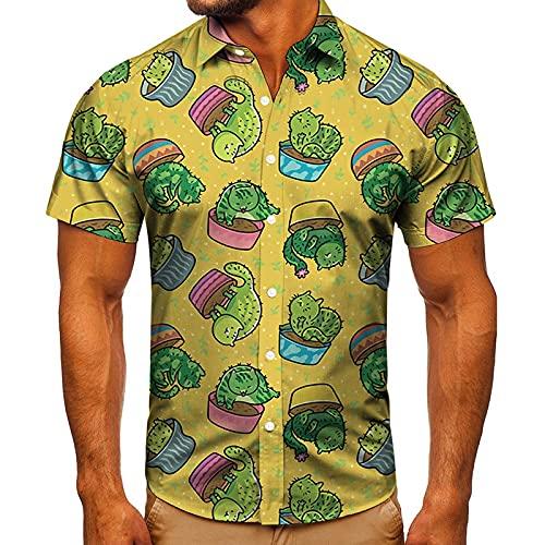 Camisas Solapa Estilo Playa Verano Manga Corta Estampado Flores Hawaianas Moda para Hombre Ropa CóModa Informal De Vacaciones S-4xl