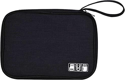 House of Quirk Polyester Electronic Accessories Pouch Black NEW LINEN GADGET ORG BLA