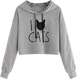 VEFSU Women Hoodies Casual Solid Sweatshirt Winter Ladies Baggy Hooded Cat Print Jumper Short Pullover Tops