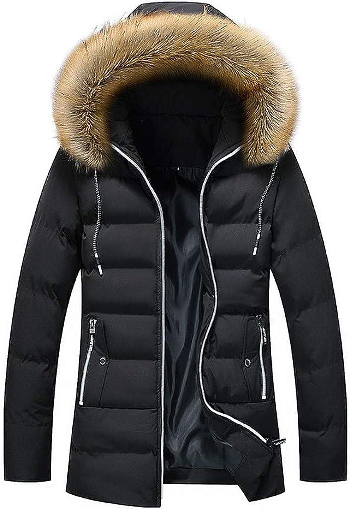 MmNote Men's Hooded Winter Coat Faux Fur Lined Warm Padded Parka Casual Outwear Outdoor Snowjacket