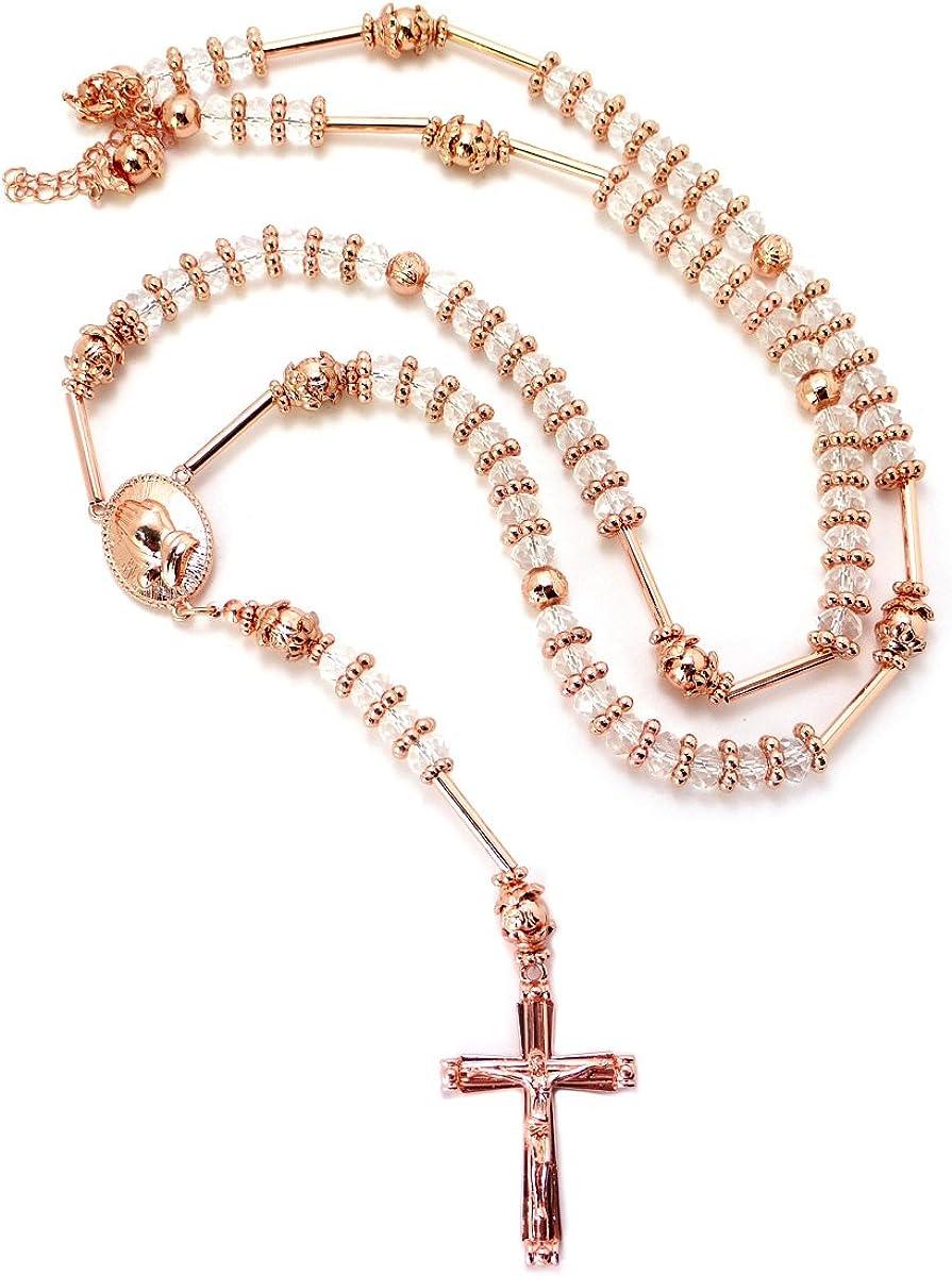 NYFASHION101 Praying Hands Jesus Cross Pendant Glass Beads Rosary Necklace