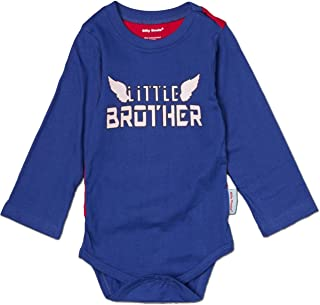 Silly Souls Little Brother Super Hero LS Raglan Baby Boy Onesie Blue