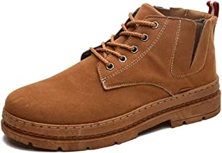 Xujw-shoes store, 2019 Mens New Lace-up Flats Ankle Boots for Men Side Cut Bootie Lace Up PU Leather Rubber Sole Round Toe High Top Stitching Soft Non-Slip Platform Durable Comfortable