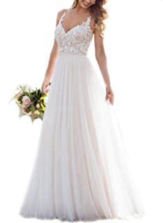 Lace Beach Wedding Dresses for Bride Long Illusion Tulle Spaghetti V-Neck A-Line Bridal Gowns