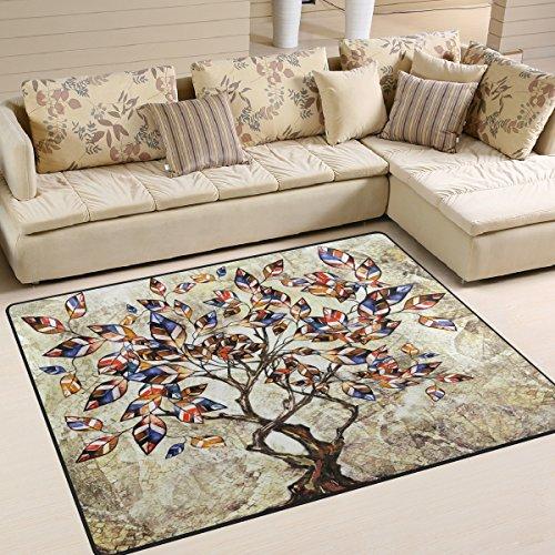 Use7 Tapis pour salon, chambre à coucher, motif arbre de vie, paysage nature, 160 x 122 cm