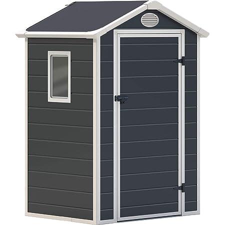 GARDIUN KSP38100 Abri en résine 1,34 m² Dimensions extérieures : 130 x 103 x 203 cm. Une Porte 75 x 173 cm. Couleur : Anthracite.