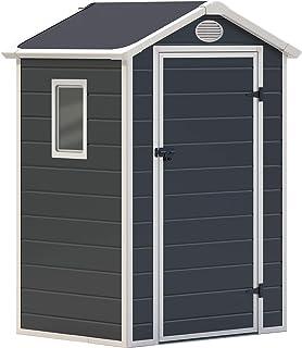 comprar comparacion GARDIUN KSP38100 - Caseta de Resina Mara - 1,34 m² Exterior 102x132x203 cm Antracita/Blanco