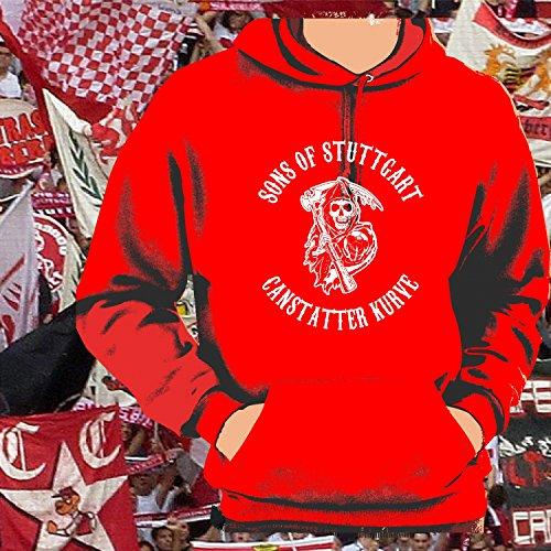World of Football Kapuzenpulli Sons of Stuttgart Cannstatter Kurve rot - XXL