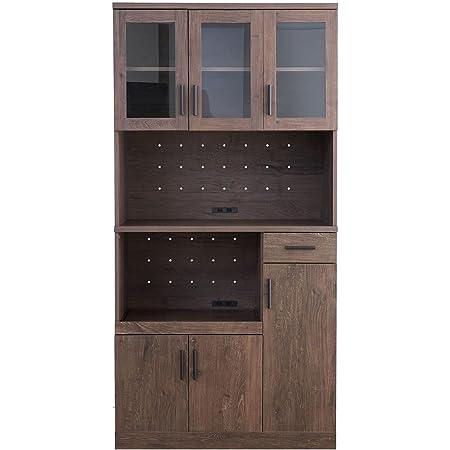 家具350 レンジ台 食器棚 キッチン収納 大型レンジ対応 レンジラック スリム 収納 ブラウン 147004