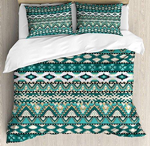 TocaHome Skinny Decorative Duvet Cover for Bedroom, Tribal Aztec Design Geometrical Elements Triages Squares Primitive Pixel Art,QUEEN Size