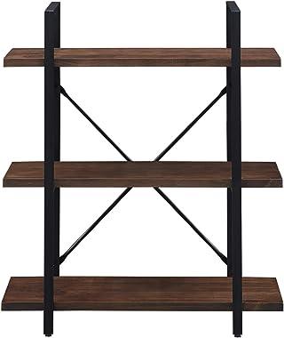 Homissue 3-Tier Industrial Solid Wood Bookshelves