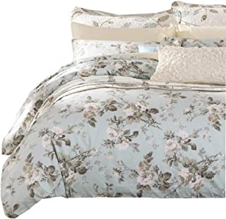SexyTown French Country Garden Toile Floral Printed Duvet Quilt Cover Egyptian Cotton Bedding Set Chinoiserie Peony Blossom Tree Branches Multicolored Design King Light Green