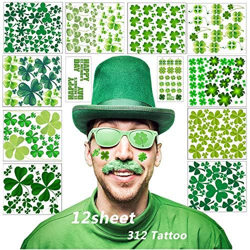 kleeblatt tattoo gesicht, 12 Blätter vier Kleeblatt temporäre Tätowierungen Aufkleber für St. Patrick's Day und Klee Themen Party (Grün)