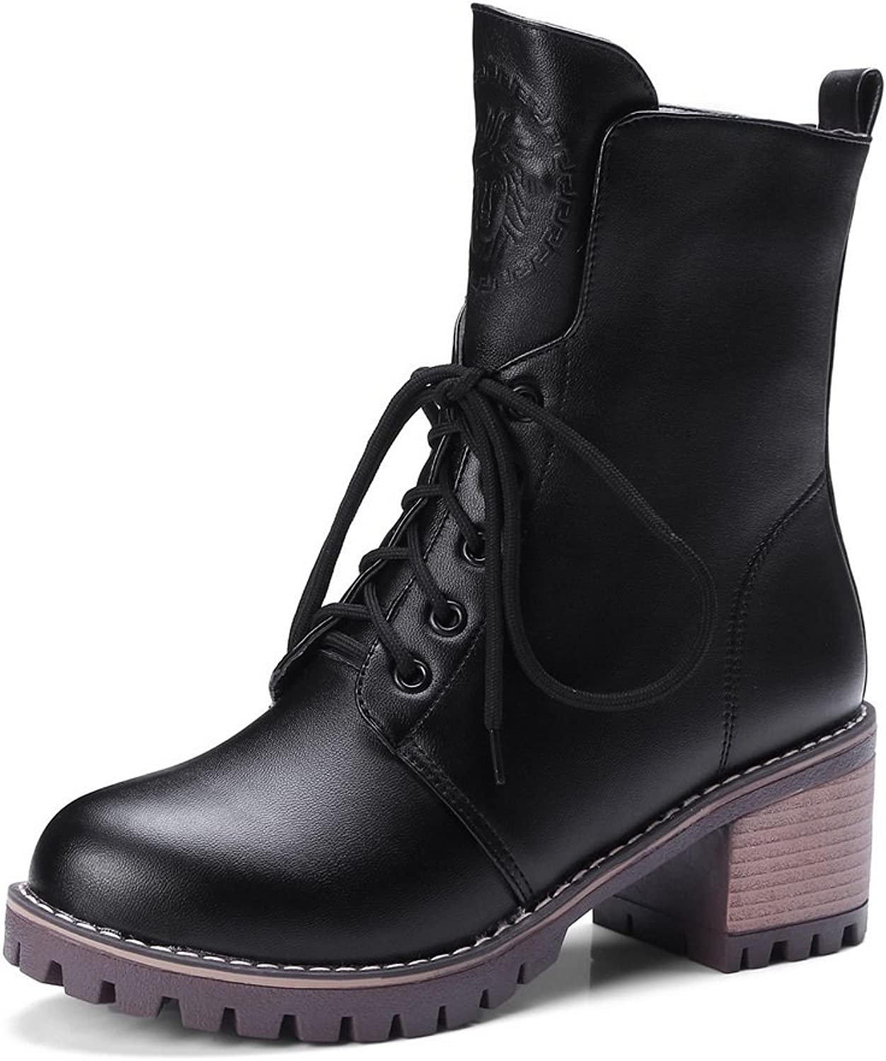 1TO9 Womens Boots Closed-Toe Lace-Up Adjustable-Strap Kitten-Heel Warm Lining Road Cushioning Bootie Urethane Boots MNS02540