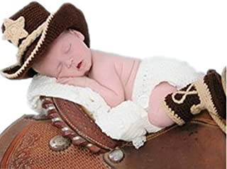 Vemonllas Fashion Newborn Baby Photography Props Outfits Boy Girl Costume Cowboy Hat Shorts Boots Coffee