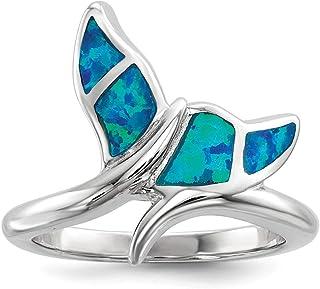 Plata de Ley rodio plateado azul Inlay imitación de ópalo anillo de cola de Ballena–opciones de tamaño anillo gama: L a P