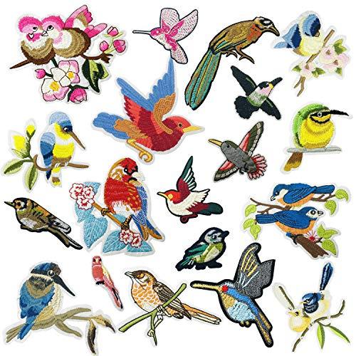 Woohome 19 Pz Pájaro Parche de Ropa, Patch Sticker, Parches Ropa Termoadhesivos Gato Bufandas para Ropa, Mochila, Gorras, Repara El Palo de Agujero