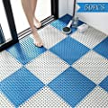 50PCS Interlocking Rubber Floor Tiles Mats Bathroom Tile with Drain Holes Massage Soft Cushion Flooring Tiles for Pool Shower Bathroom Deck Patio Garage (White Blue)