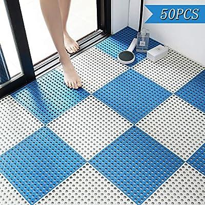50PCS Interlocking Rubber Floor Tiles Mats Bathroom Tile with Drain Holes Massage Soft Cushion Flooring Tiles for Pool Shower Bathroom Deck Patio Garage (White Blue)