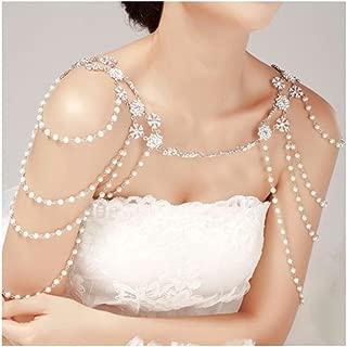 Wedding Bridal Crystal Pearl Shoulder Body Chain Rhinestone Necklace Jewelry New