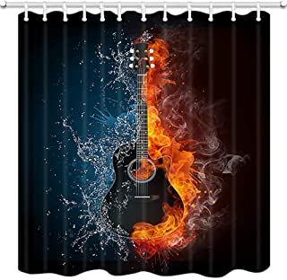 Guitar Decor Shower Curtains, Creative Guitar Instrument, Half is Red Flame, Half is Blue Water Bath Curtain, Polyester Fabric Bathroom Curtain with 12 Hooks, 69X70 Inches