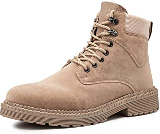 Happy-L Shoes, Combat Boots for Men High Top British Style Shoes Lace up Style Faux Suede Round Toe Stitched Anti Slip Comfort Lined Classic