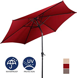 Giantex 9ft Market Patio Umbrella, Outdoor Table Umbrella w/Push Button Tilt and Crank, 180G Polyester and Sturdy Ribs, Sun Umbrellas for Market Garden Beach Pool