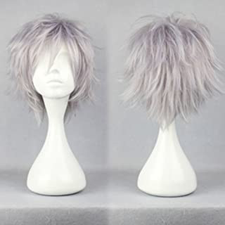 Short Fluffy Anime Wigs for Women Men 21 colors Spiky Unisex Comic Wigs with Oblique Bangs for Halloween Cosplay Costume Party with Free Wig Cap Silvery Gray