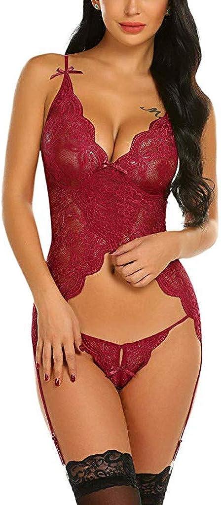 Fanteecy Women Lingerie Set with Garter Lace Teddy Bodysuit Set Mini Babydoll Sexy V Neck Sleepwear Nightdress Red