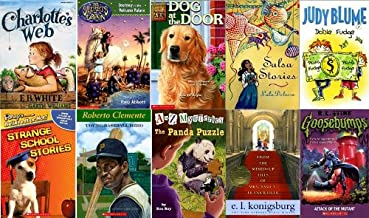 RIF Booster 10 Pack - Secrets of Droon 2, Charlotte's Web, Dog at the Door, Strange School Stories, Panda Puzzles, Salsa Stories, Double Fudge, From the Mixed Up Files of Mrs Basil Frankweiler,Attack of the Mutant, Robert Clemento Young Baseball Hero (Scholastic Pack)