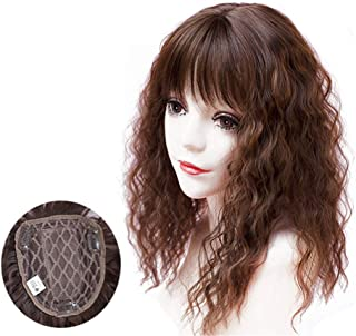 Crown Topper Hairpieces with Bangs for Women, Clip on Curly Wavy Synthetic Top Wiglet Hairpieces for Thinning Hair (17