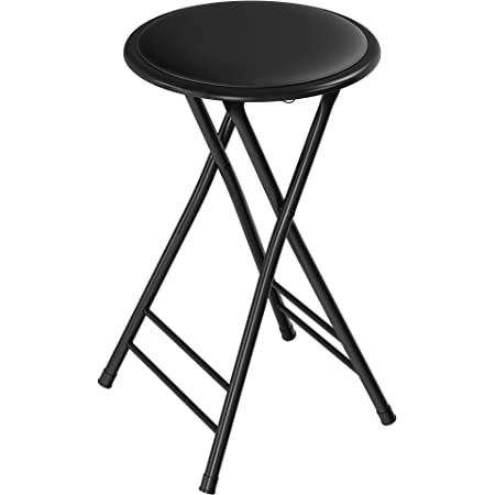 Trademark Home Folding Heavy Duty 24-Inch Collapsible Padded Round Stool with 300 Pound Capacity for Dorm, Rec Room or Gameroom (Midnight), Midnight, Midnight