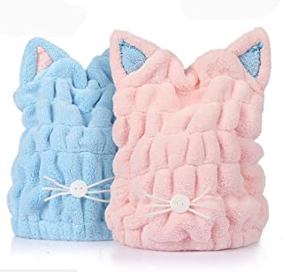 2 Pack Hair Drying Towel Cap, Microfiber Bath Towel Hat for Shower Spa, Ultra Soft Absorbent Hair Quick Drying Hat (Blue and Pink)