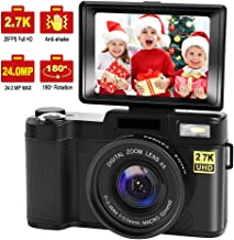 Digital Camera Vlogging Camera with YouTube 24MP 2.7k Full HD Camera with Flip Screen 180..