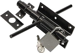 KOTARBAU® Deurklink boutgrendel 100 mm aan beide zijden deurklink slotgrendel met hangslot gepoedercoat zwart