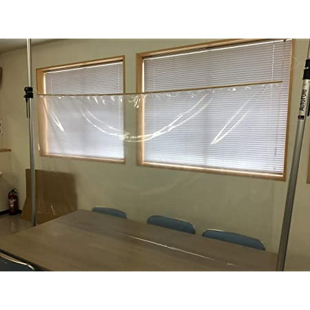日本理工 防炎 透明ビニールカーテンシート 飛沫防止 幅1.8メートル 丈1~3メートル (カットのみ1メートル)