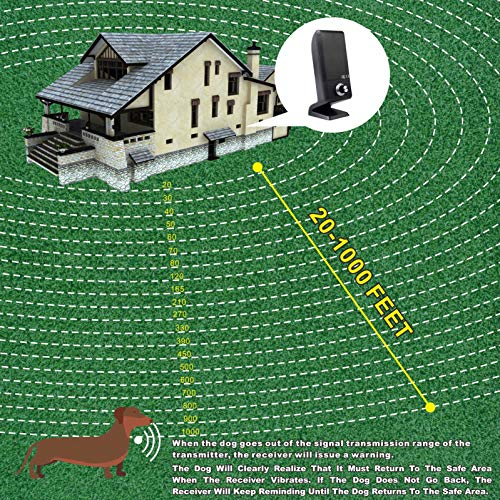 JUSTPET Wireless Dog Fence Pet Containment Vertical System, Vibrate/Electric Shock/Beep Dog Wireless Fence Container, 1000 Feet Control Range Consistent Signal No Randomly Correction
