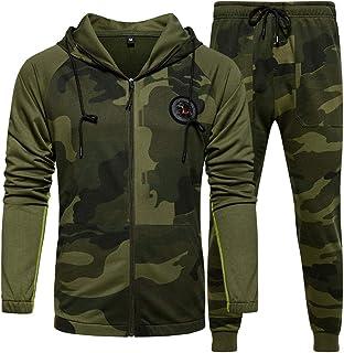 ZAPZEAL Mens Tracksuit Set Hoodie Top Bottoms Jogging Zip Joggers Gym Causal Exercise Running Sport Sweat Suit Pants