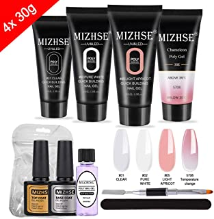 MIZHSE Poly Nail Gel Kit 30ml- Nail Extension Gel Kit Enhancement Builder Gel Trial kit Professional Nail Technician 4pcs All-in-One French Kit for Starter with Gift Box