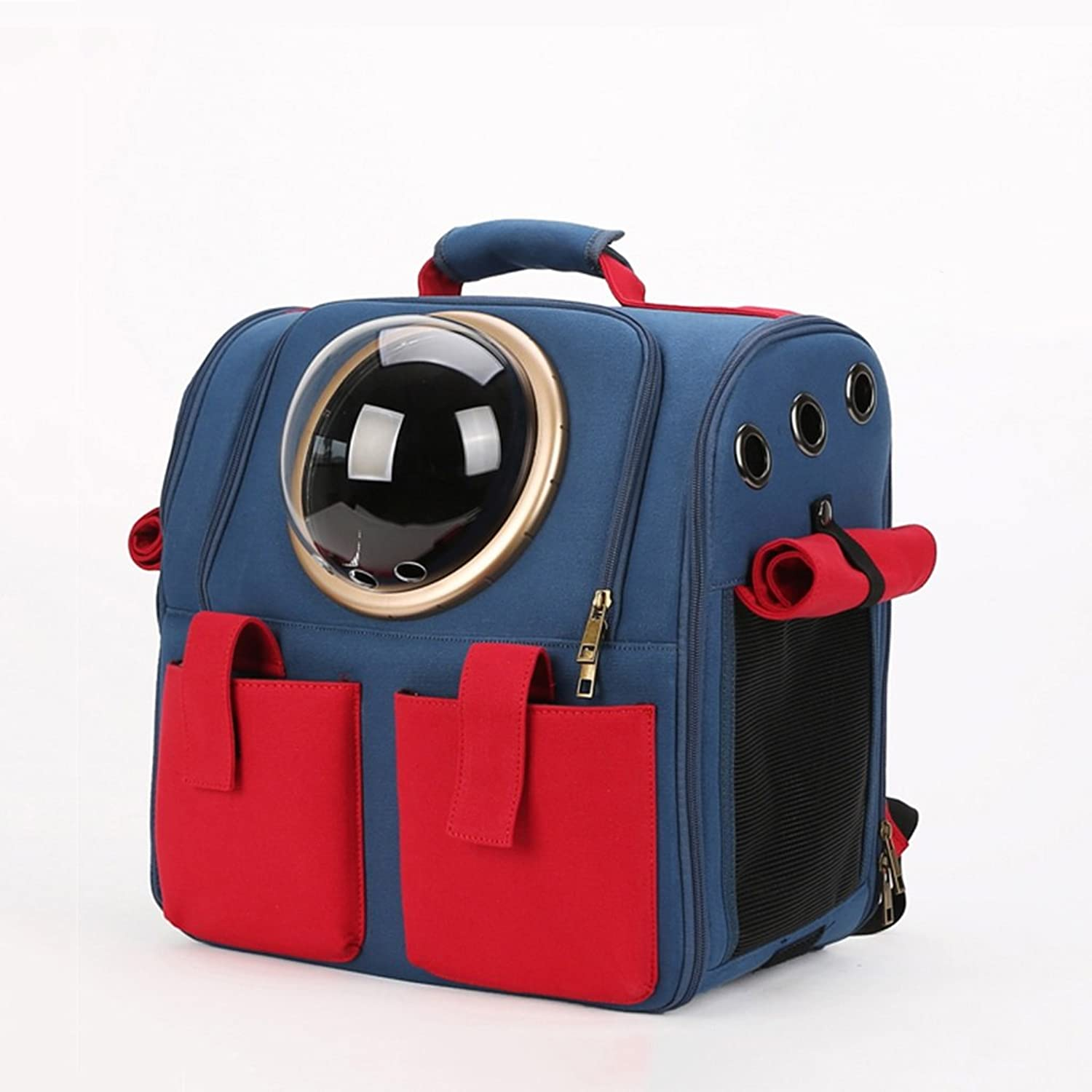 Backpacks Cat Out of The Bag Dog cage Space Capsule pet Bag cat Bag cat Backpack Dog Bag Out of The Box Portable Backpack Carriers (color   bluee and Red, Size   38  26  38cm)